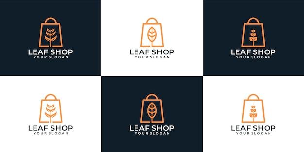 Набор минималистичных продаж листового магазина с логотипом
