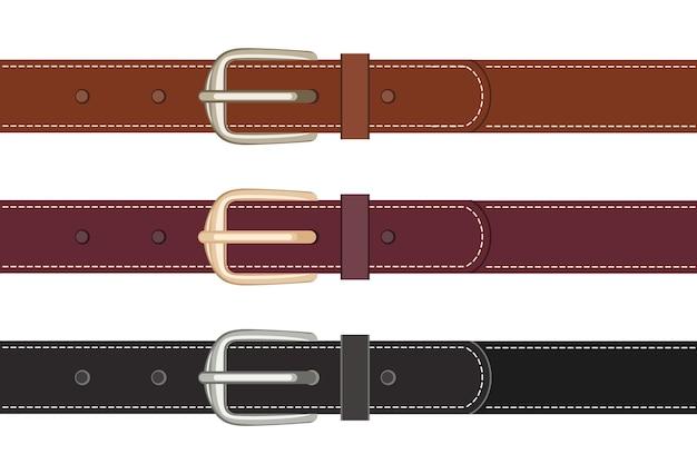 Комплект кожаных ремней с пряжками на пуговицах.