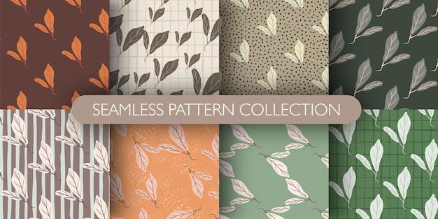 잎 대각선 장식 낙서 원활한 패턴의 집합