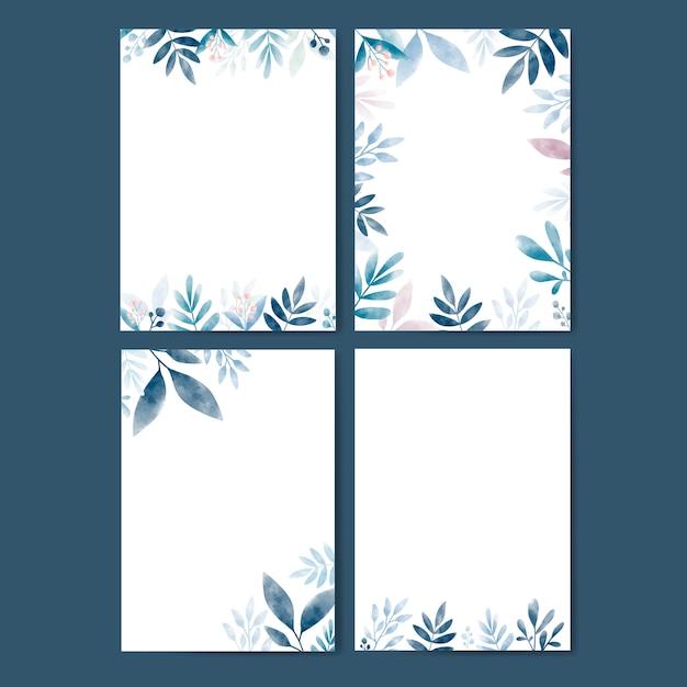 コピースペースと水彩の葉のセット