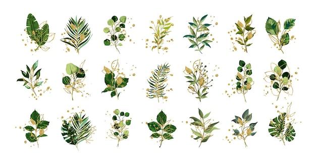 Набор листьев с золотыми элементами