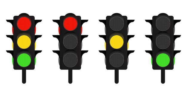 Led 신호등 세트입니다. 빨간색, 노란색 및 녹색 신호등입니다. 벡터 일러스트 레이 션