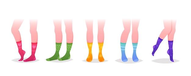 Набор ног в носках, разнообразие модных женских хлопковых красочных длинных носков. современная коллекция для особых случаев и повседневного ношения, изолированных на белом фоне. векторные иллюстрации шаржа
