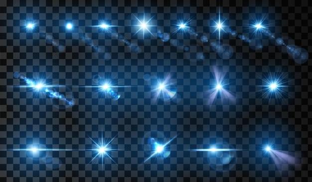 レンズフレアのセット光の輝き効果ベクトル図