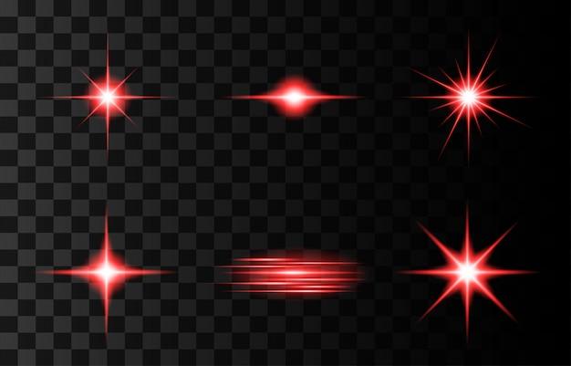 Набор объектива флэш иллюстрации. блеск звездного света, изолированные на прозрачном фоне. светящийся эффект света