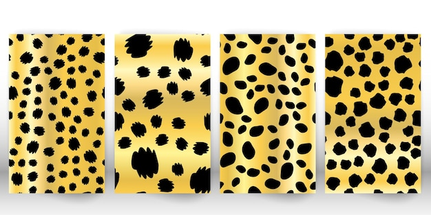 ヒョウ柄のセットです。パンサースキン。レトロな生地のパターン。斑点のある毛皮の質感。アニマルプリントのヒョウ。