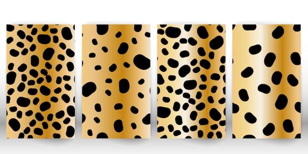 ヒョウ柄のセット。パンサースキン。レトロな生地のパターン。斑点のある毛皮の質感。アニマルプリントのヒョウ。