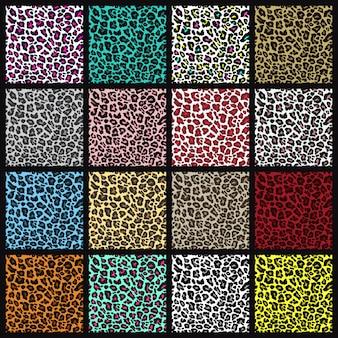 ヒョウのシームレスパターンのセット