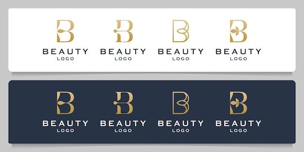 문자 b 뷰티 모노그램 크리에이 티브 라인 개요 로고 디자인 세트
