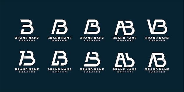 깨끗하고 대담하며 독특한 스타일의 문자 b 로고 컬렉션 세트