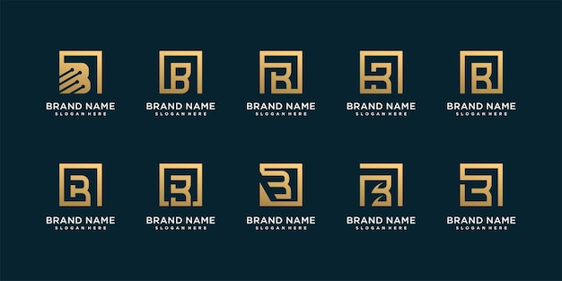 Набор букв b с логотипом с креативной золотой концепцией premium векторы