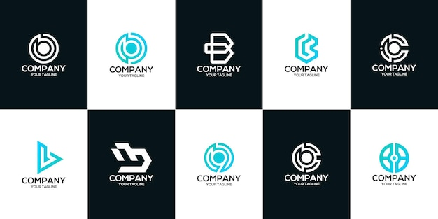 Набор букв bcw9g шаблон логотипа премиум вектор монограмма