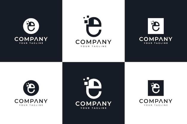 모든 용도를 위한 문자 e 컴퓨터 마우스 로고 창의적인 디자인 세트