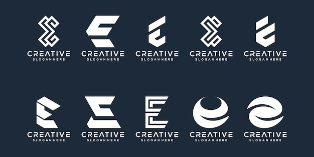 Набор букв e логотипа