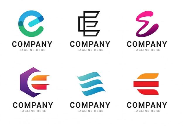 Набор элементов шаблона иконы логотип буква e