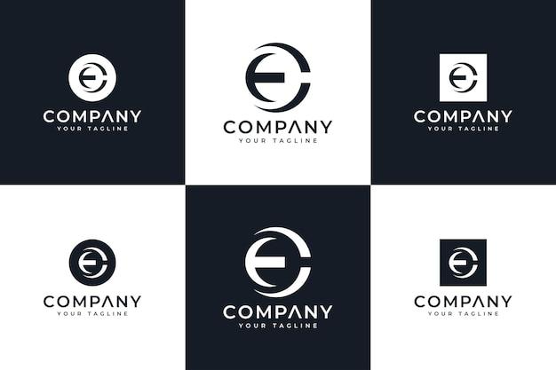 Набор креативного дизайна логотипа letter ec для всех целей