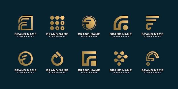ユニークなスタイルのプレミアムベクトルと文字fロゴコレクションのセット