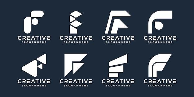 편지 f 로고 디자인의 세트