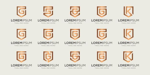 Набор букв gk монограмма и щит знак сочетание безопасности сила безопасности роскошный логотип