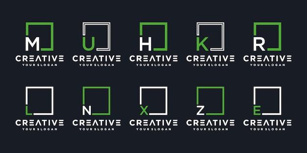 문자 기하학 로고 디자인 템플릿 세트