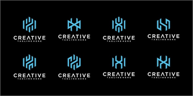 Набор коллекций логотипа буква h. коллекция дизайна логотипа monogram