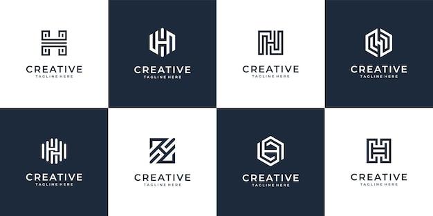クリエイティブなコンセプトの文字hロゴデザインコレクションのセットです。