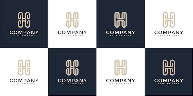 Набор букв h дизайн логотипа вдохновение