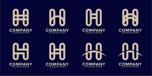 편지 h 모노그램 로고 디자인 서식 파일의 설정