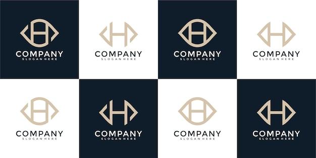 Набор букв h вензель логотип дизайн шаблона