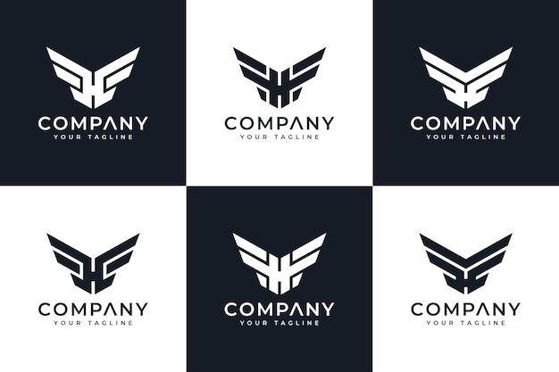 すべての用途のための文字h翼ロゴクリエイティブデザインのセット