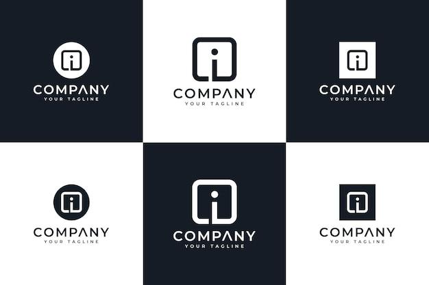 Набор креативного дизайна логотипа letter i box для всех целей