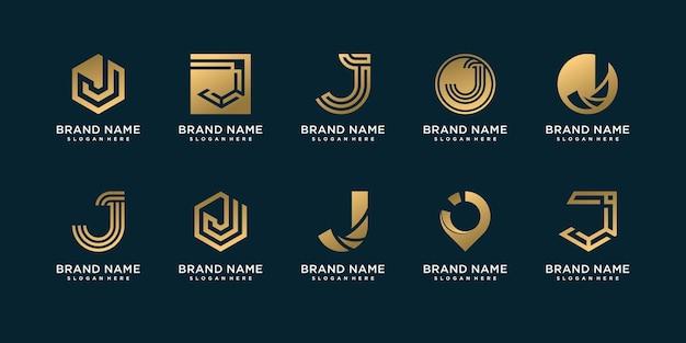 創造的な黄金のコンセプトを持つ手紙 j ロゴテンプレートのセット プレミアムベクター