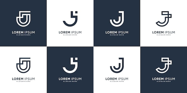 Набор букв j с логотипом в современном творческом стиле premium векторы