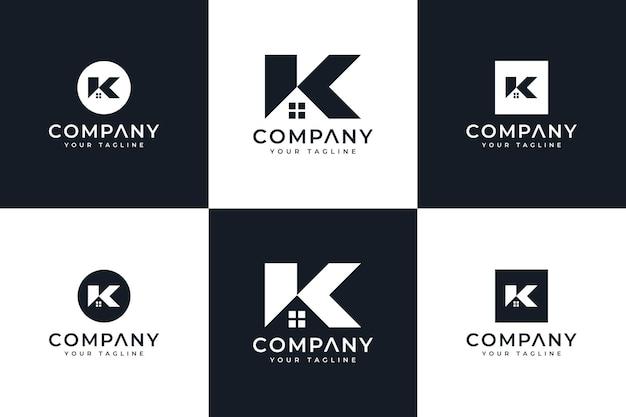 すべての用途のための文字k家のロゴの創造的なデザインのセット