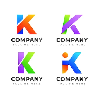 화려한 컨셉으로 편지 k 로고 디자인 서식 파일의 집합입니다. 패션, 스포츠, 자동차, 우아한 비즈니스