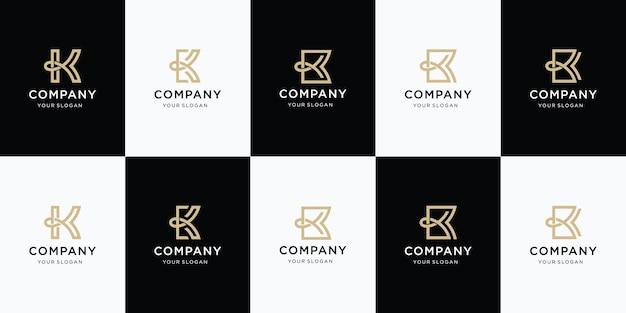 文字kのロゴデザインのセット