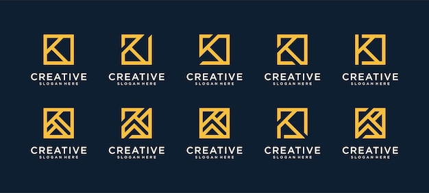 正方形スタイルの文字kロゴのセット