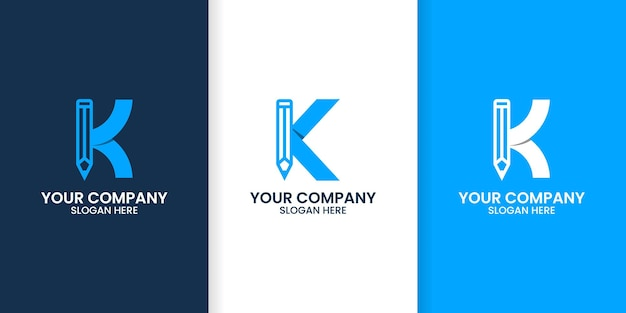 Набор букв k карандаш шаблон логотипа