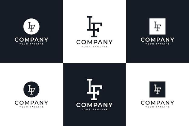 Набор букв lf креативный дизайн логотипа для всех целей