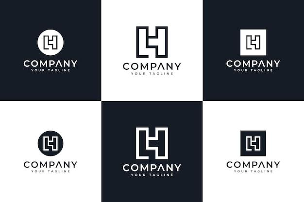 Набор креативного дизайна логотипа letter lh для всех целей