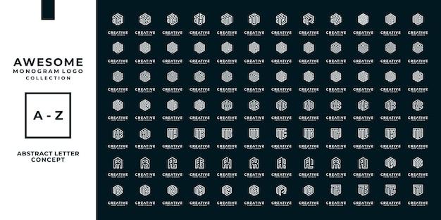 コンサルティング、初期、金融会社のための黄金の概念を持つ文字ロゴコレクションのセット
