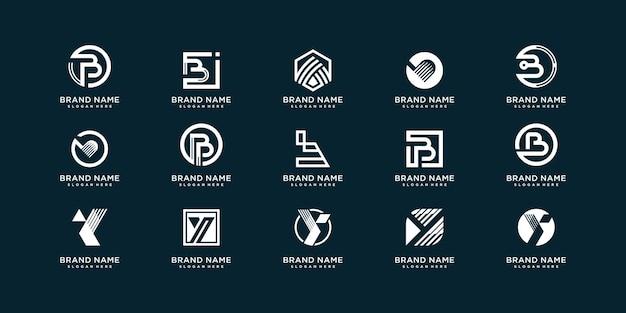 회사 또는 사람에 대한 초기 b 및 y가 있는 문자 로고 컬렉션 세트 premium vector