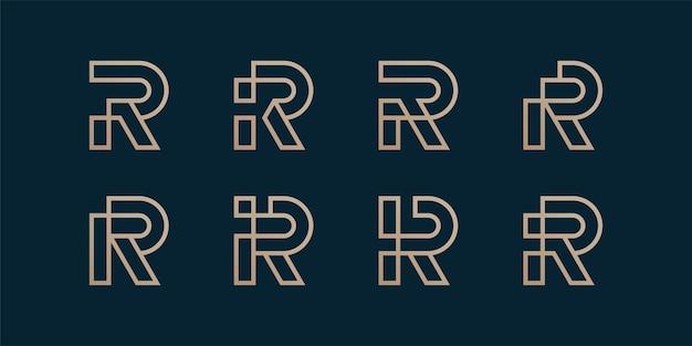 初期のrラインアートコンセプトの文字ロゴコレクションのセット