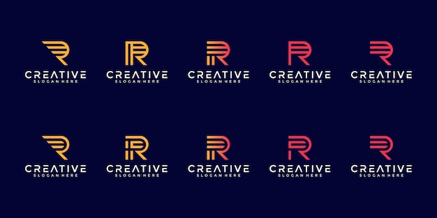 最初のrラインアートコンセプトの文字ロゴコレクションのセット