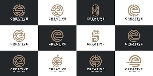 コンサルティング、イニシャル、金融会社のためのラインスタイルの文字ロゴコレクションのセット