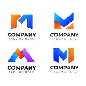 カラフルなコンセプトの文字mロゴデザインテンプレートのセットです。ファッション、スポーツ、エレガントのビジネスのために