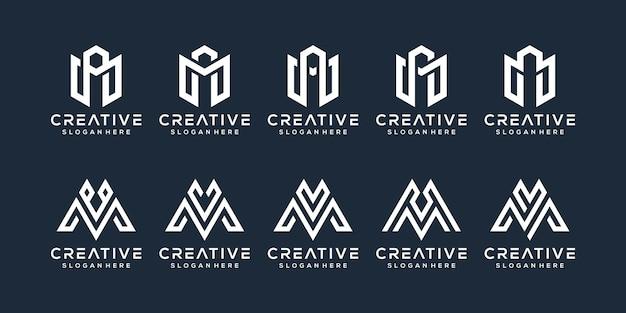 편지 m 로고 디자인의 세트