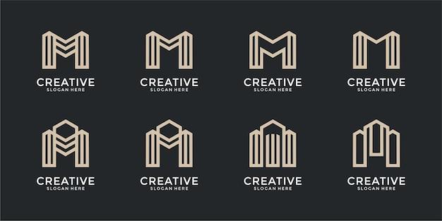文字mモノグラムロゴデザインテンプレートのセット