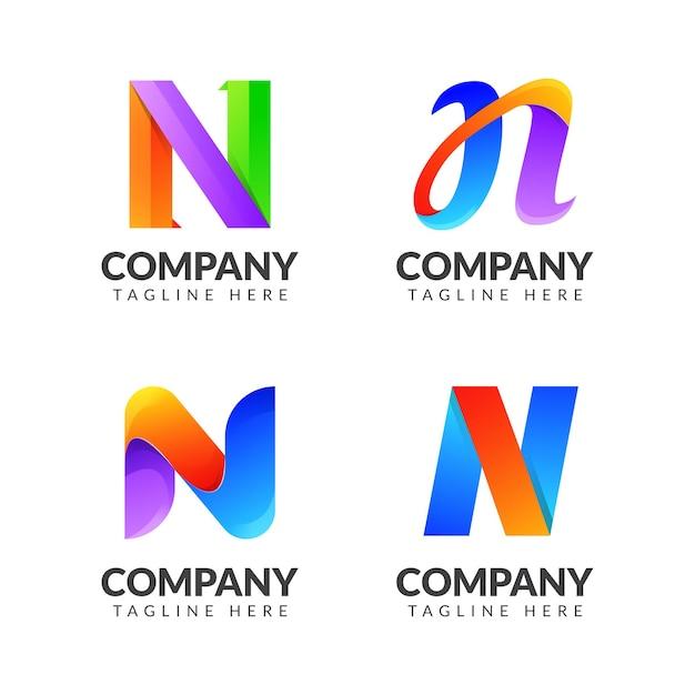 ビジネスのためのカラフルなコンセプトの文字nロゴコレクションのセット