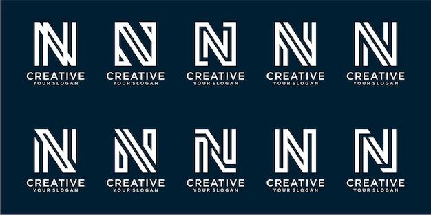 シンプルな正方形のスタイルのプレミアムベクトルの文字nロゴテンプレートのセット